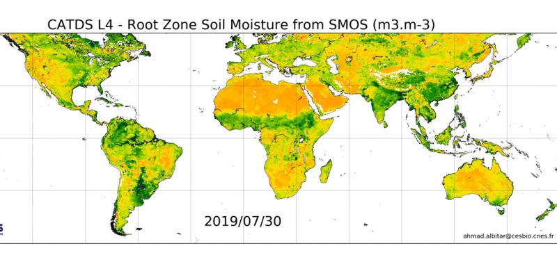 Carte globale de l'humidité en zone racinaire issue du produit CATDS L4 RZSM du 30/07/2019