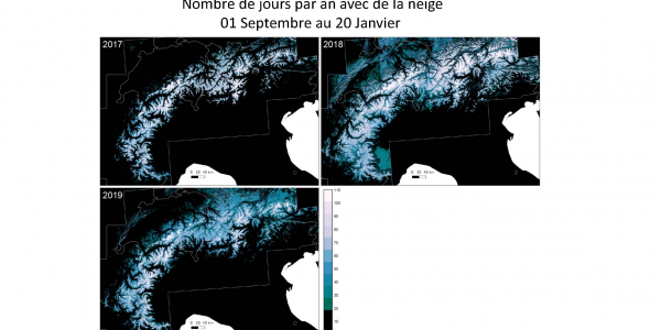 The Alps Annual Snow Coverage, 2017, 2018 and 2019.