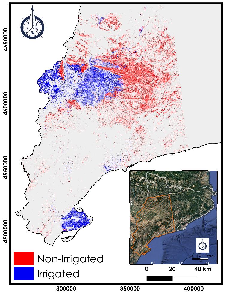 Carte d'irrigation de la Catalogne