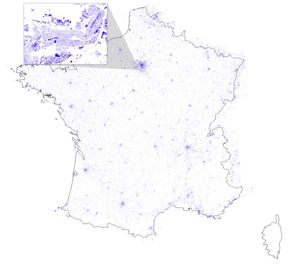 Cartographie du bâti métropolitain, obtenue par entrainement de neurones convolutionnels profonds à distinguer des structures humaines sur des images Spot-6/7