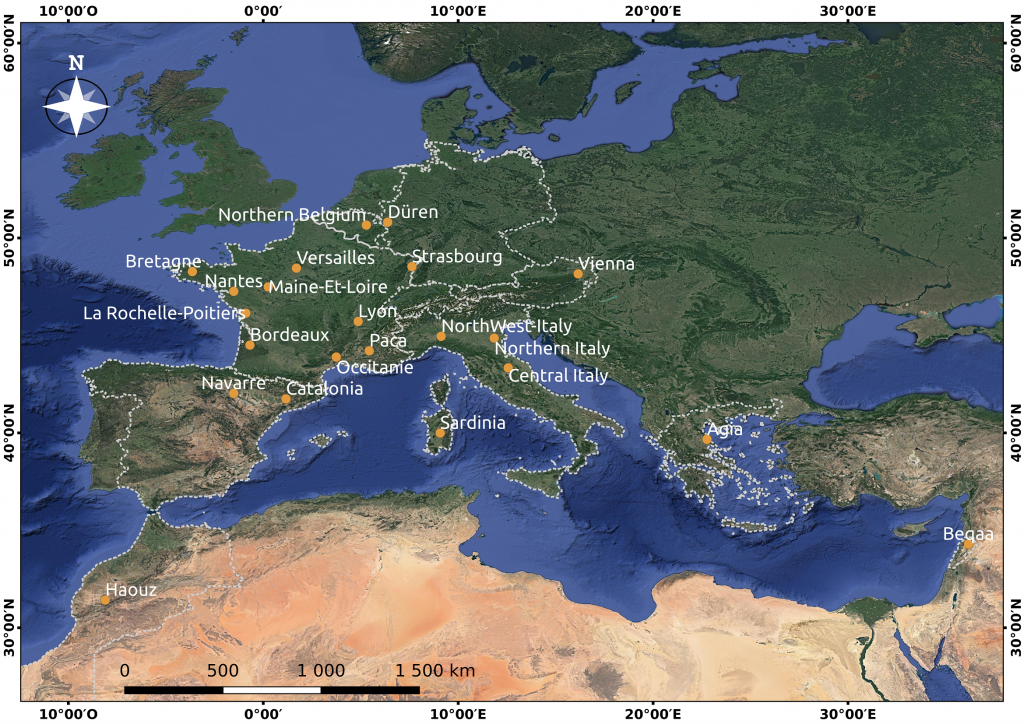 Location of the 22 sites documented by Theia VHSR Soil Moisture maps (March 2021).