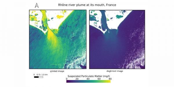 Effet du glint (non corrigé à gauche) sur le calcul des concentrations de matières en suspension à l'embouchure du Rhône à partir d'une image Sentinel-2