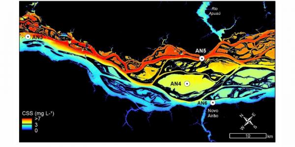 Concentrations en matières en suspension du Rio Negro (Brésil)