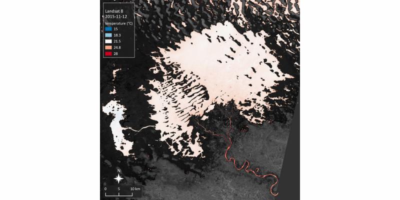 Carte de la température de surface (°C) du Lac Tchad