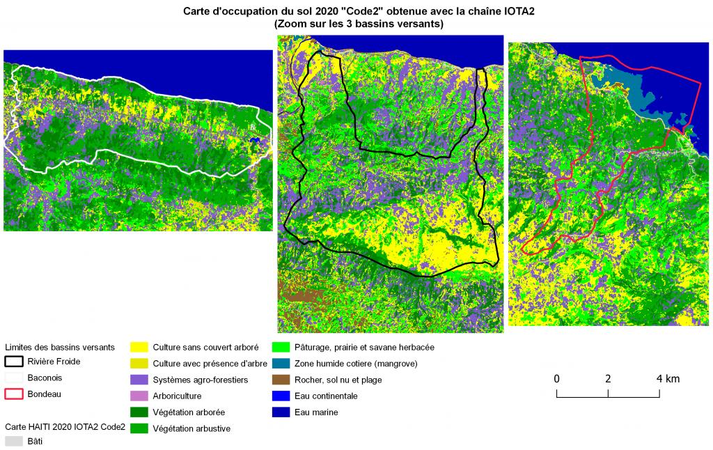 Cartes d'occupation des sols pour 3 bassins versants d'Haïti